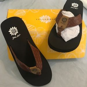 Yellow Box Cocoa flip flops